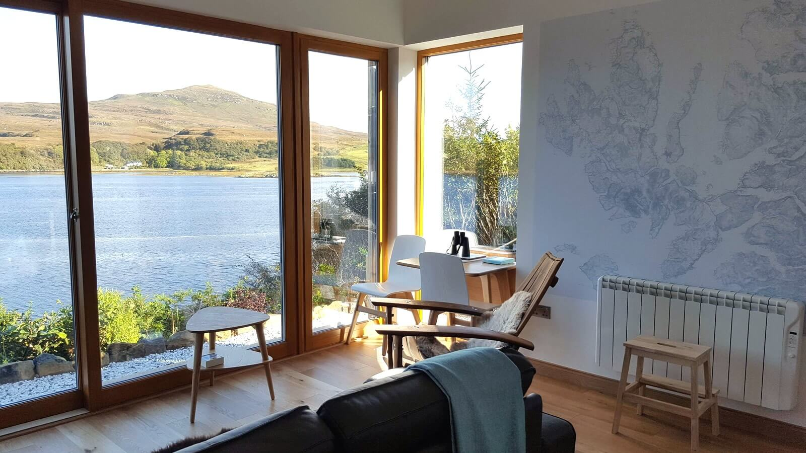 Lounge area with sea view, Skye Self Catering